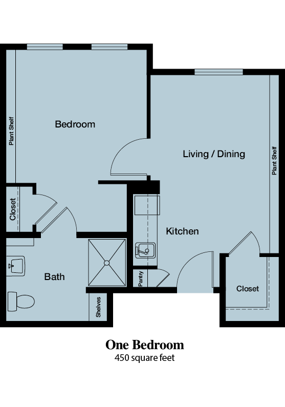 One Bedroom - 450 square feet - The Commons of Hilltop