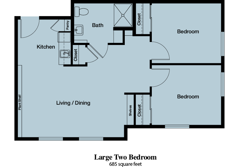 Large Two Bedroom - 685 square feet - The Commons of Hilltop