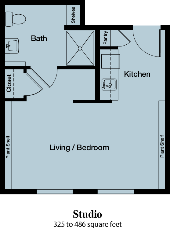 Studio - 325 to 486 square feet - The Commons of Hilltop