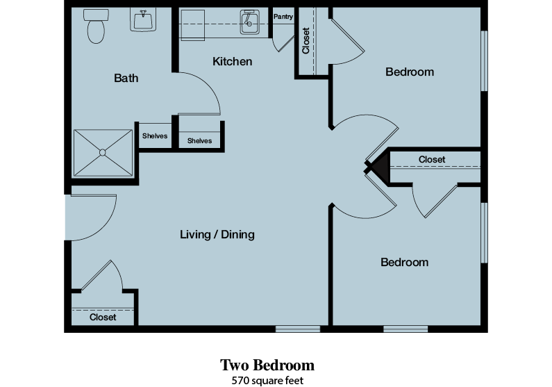 Two Bedroom - 570 square feet - The Commons of Hilltop