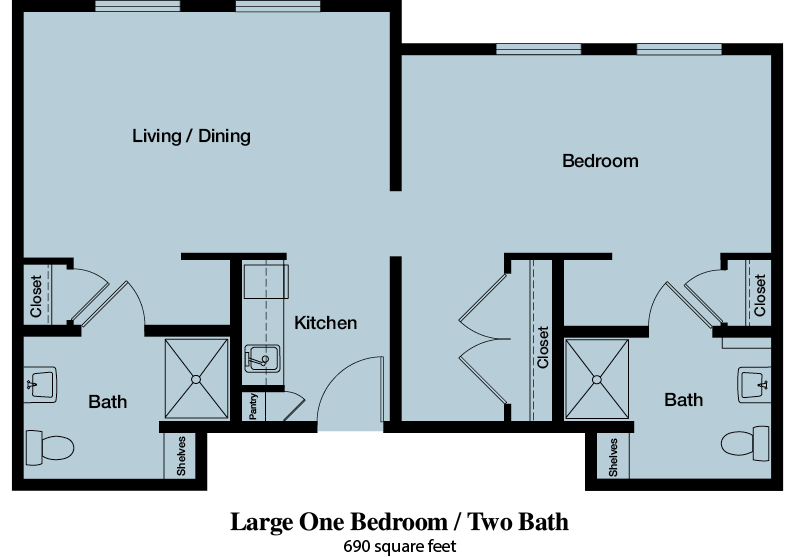 Large One Bedroom / Two Bath - 690 square feet - The Commons of Hilltop